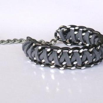 Graphite grey - Braided Chain Bracelet - Braided Cuff Bracelet - Black Chunky Chain and Fiber in Black and Grey
